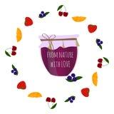 Le confiture-pot de myrtille en fruits entourent, élément pour la conception Images libres de droits
