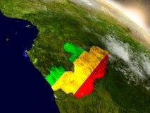 Le Congo avec le drapeau en Soleil Levant illustration stock