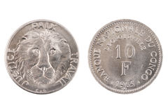 Le Congo belge d'isolement 10 Franc Coin Images libres de droits