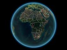 Le Congo sur terre de planète de l'espace la nuit image stock
