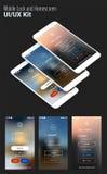 Le connexion d'UI et s'enregistrent les écrans et le kit de maquette de 3d Smartphone illustration libre de droits