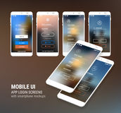 Le connexion d'UI et s'enregistrent les écrans et le kit de maquette de 3d Smartphone Photographie stock