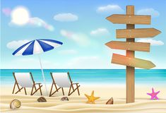 Le conseil en bois de direction se connectent la plage de sable de mer illustration de vecteur
