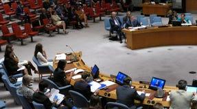 Le Conseil 7760 les Nations Unies se réunissantes de sécurité Images stock