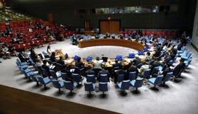 Le Conseil 7760 les Nations Unies se réunissantes de sécurité Images libres de droits
