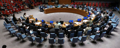 Le Conseil 7760 les Nations Unies se réunissantes de sécurité Photo libre de droits