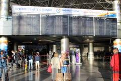 Le conseil principal avec le programme de vol à l'aéroport international Vnukovo Moscou - juillet 2017 Images stock