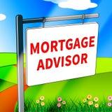 Le conseiller d'hypothèque veut dire finance à la maison l'illustration 3d Images stock