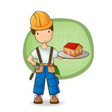 Le constructeur retenant la petite maison Image stock