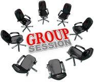 Le contact de session de groupe préside la discussion de cercle Image libre de droits