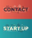 Le contact plat moderne de conception, commencent à marquer avec des lettres avec des icônes d'affaires illustration stock