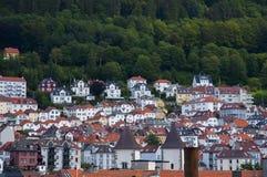 Le conte de fées aiment des bâtiments à Bergen, Norvège Photographie stock