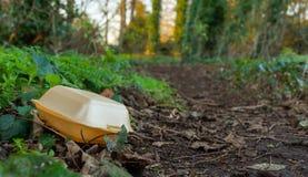Le conteneur de nourriture fermé jeté salit un chemin forestier images libres de droits