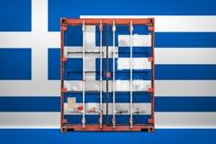 Le conteneur de transport avec le drapeau national photos stock