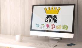 le contenu d'ordinateur de bureau est roi Image libre de droits