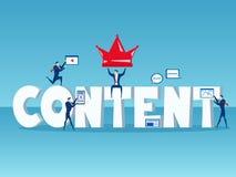 Le contenu est roi Équipe d'affaires avec le grand concept de contenu de mot du marketing numérique satisfait avec des icônes et  Photo libre de droits