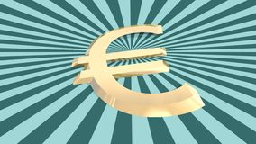 Le contexte a donné à l'euro icône une consistance rugueuse de l'argent 3d sur des burts du soleil Images stock