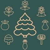 Le contour abstrait d'icônes des arbres de sujets fleurissent et portent des fruits Symbole de nature et de naturel Éléments de c Photos stock