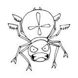 Le contour d'une araignée dans un style de bande dessinée croquis image d'isolement par vecteur Images stock