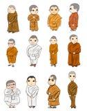 Le contour de Bhikkhuni sont entièrement nonne bouddhiste ordonnée, vecteur de bande dessinée Photographie stock