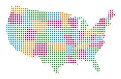 le contour de carte de forme indique les Etats-Unis Image libre de droits