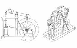 Le contour différent de moteur de faisceau en bois aiment des traçages illustration libre de droits