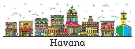 Le contour Havana Cuba City Skyline avec des bâtiments de couleur a isolé o illustration stock