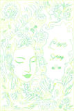 Le contour jaune vert en pastel de couleur, forêt, fac de fille, fond part Carte décorative avec l'endroit pour le texte Illustration Stock