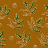 Le contour laisse le modèle sans couture sur la couleur de safran des indes illustration stock
