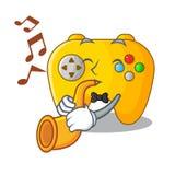 Le contrôleur de jeu vidéo de trompette étant formé sur le charcter illustration libre de droits