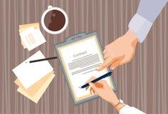 Le contrat s'enregistrent des gens d'affaires d'accord Pen Signature Office Desk de document sur papier illustration de vecteur