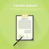 Le contrat s'enregistrent le document sur papier Pen Signature illustration libre de droits