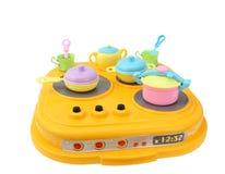 Le cookware en plastique des enfants, jouets Photo stock