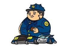 Le cop et le véhicule. illustration de vecteur