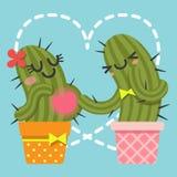 Le coppie amorose del cactus Fotografia Stock Libera da Diritti