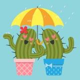 Le coppie amorose del cactus con l'ombrello Fotografia Stock