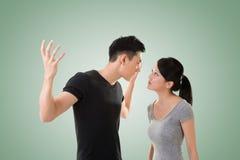 Le coppie asiatiche discutono Fotografia Stock Libera da Diritti