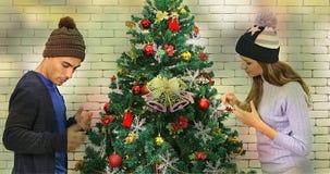 Le coppie caucasiche hanno decorato insieme l'albero di Natale stock footage