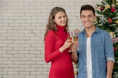 Le coppie caucasiche stanno celebrando insieme il loro natale, bevanda immagine stock