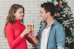 Le coppie caucasiche stanno celebrando insieme il loro natale, bevanda fotografie stock