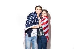 le coppie coprono di bandiera degli Stati Uniti Immagine Stock Libera da Diritti