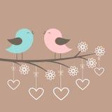 Le coppie degli uccelli svegli cantano royalty illustrazione gratis