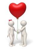 Le coppie del giorno di biglietti di S. Valentino 3d che danno il cuore rosso balloon Fotografie Stock Libere da Diritti