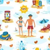 Le coppie della famiglia sulla spiaggia vector il vettore senza cuciture romanzesco del modello di tempo di viaggio di vacanza di royalty illustrazione gratis