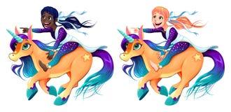 Le coppie delle ragazze stanno guidando gli unicorni illustrazione di stock
