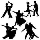 Le coppie di ballo di fox-trot ballano/vettore siluetta di ballo da sala illustrazione vettoriale