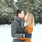 Le coppie felici all'aperto nell'amore che posa nell'inverno freddo sopravvivono Fotografia Stock