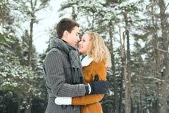 Le coppie felici all'aperto nell'amore che posa nell'inverno freddo sopravvivono Fotografie Stock