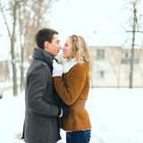 Le coppie felici all'aperto nell'amore che posa nell'inverno freddo sopravvivono Immagine Stock