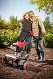Le coppie felici di una famiglia degli agricoltori sul loro giardino si rallegrano su una pianta Fotografie Stock